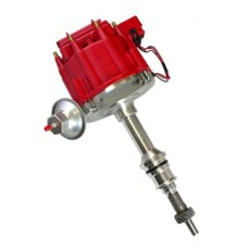 Chrome Aluminum Cleveland 351/400/429/460 HEI Electronic Distributor with 50K Coil - Red Cap