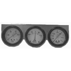 "Chrome 2 5/8"" Triple Gauge Kit with Oil Pressure, Ammeter & Water Temp"